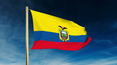 Ecuador flag slider style. Waving in the win with cloud background animation Stock Footage
