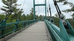 Suspension bridge walkway in Ontario, Canada. Stock Footage