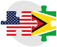 Stock Illustration of USA and Guyana Flags in puzzle