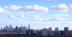 Toronto Spring Clouds Passing City Landmarks 4k Stock Footage