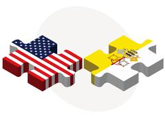 USA and Vatican City Flags in puzzle - stock illustration