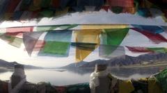 Tibetan Lake with Prayer Flags No.1 Stock Footage