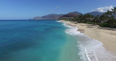 Maili Beach, Waianae, Leeward coast, Oahu, Hawaii - stock footage