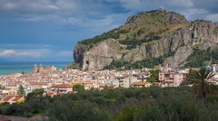 Sunny morning panorama of the town Cefalu with Piazza del Duomo Stock Footage
