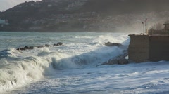 Storm at the Tyrrhenian sea on coast of Sicily Stock Footage