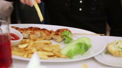 Potato fries and barbecue Stock Footage