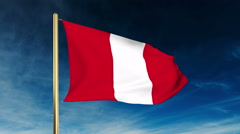 Peru flag slider style. Waving in the win with cloud background animation Stock Footage
