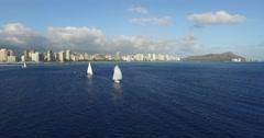 Ala Moana Park; Ala Wai Yacht Harbor; Waikiki; Honolulu; Oahu; Hawaii; Stock Footage