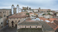 Time Lapse of Caceres down town with tourists at sunset, top view Stock Footage