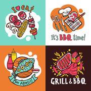Stock Illustration of Bbq Grill Design Concept Set