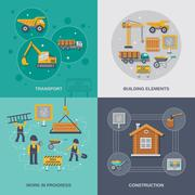 Construction Flat Set Stock Illustration