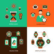 Clock Design Concept Set - stock illustration