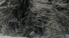 Curve on snowy country road (2) Stock Footage