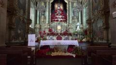 4k Parish Nossa Senhora do Monte Madeira painted ceiling Stock Footage