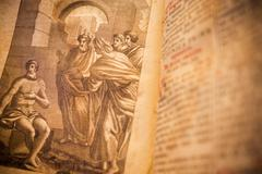 Stock Photo of Religious drawing from a 300 years old roman book in latin language