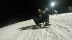 4K Night crazy sledding during the winter. UHD stock video Stock Footage