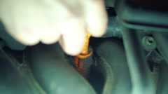 Checking the oil level in the car (1) Stock Footage