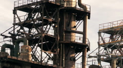 smokestacks, the spider web of pipes (1) - stock footage