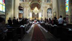 Wedding ceremony inthe church. Flycam - stock footage