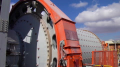 Ball mill in processing plant Stock Footage