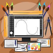 Graphic design and designer tools concept - stock illustration