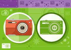Digital camera in frame on green background - stock illustration
