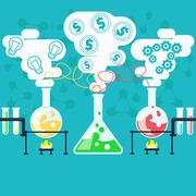 Alchemy generating money, ideas in laboratory Stock Illustration