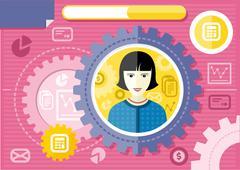 Stock Illustration of Female accountant profession concept