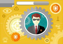Male security guard profession concept - stock illustration