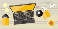 Top view of workplace with laptop and devices Stock Illustration