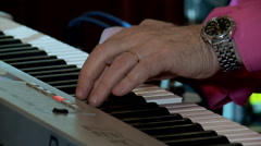 Playing sound synthesizer at the concert. Stock Footage