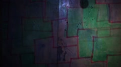 Stock Video Footage of Video  motion  graffiti   square  mesh avant-garde art night light moves along