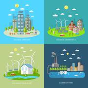 Eco City Design Concept Set Stock Illustration