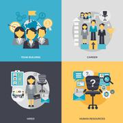 Human Resources Flat - stock illustration