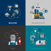 Metalworking factory 4 flat icons - stock illustration