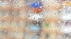 drops on the glass window of the house (3) - stock footage