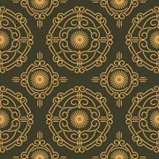Stock Illustration of Rich decorated calligraphic outlined stroke seamless pattern in dark and gold
