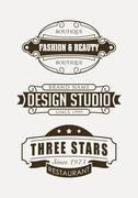 Stock Illustration of Set of retro vector design elements, logos, signs or labels for restaurant, b