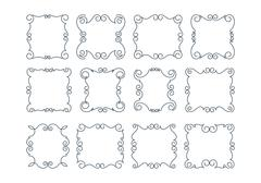Set of 12 rich decorated calligraphic outlined stroke frames. - stock illustration