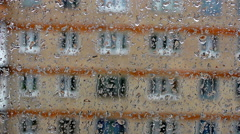 drops on the glass window of the house (9) - stock footage