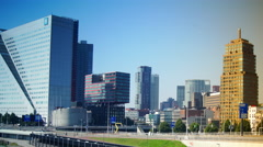 Cityscapes panorama with skyscrapers of Rotterdam,time lapse,4k Stock Footage