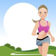 Running woman in country side - stock illustration
