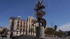 Modern sculpture, Passeig de Colom, Barcelona Stock Footage