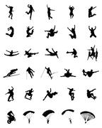 Jumping silhouettes Stock Illustration