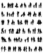 walking people silhouettes - stock illustration