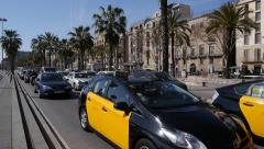 Traffic on Passeig de Colom, Barcelona Stock Footage