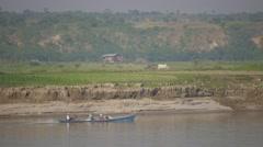 Boat on Irrawaddy ferry to Bhamo,Irrawaddy,Burma Stock Footage