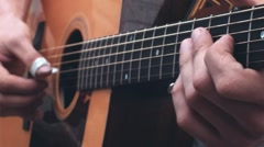 Acoustic guitar professional player - stock footage