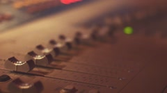 Moving faders of audio desk Stock Footage