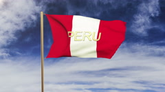 Peru flag with title waving in the wind. Looping sun rises style.  Animation Stock Footage